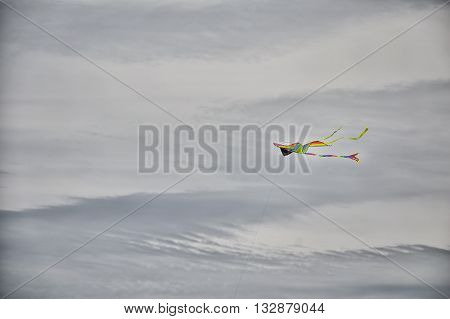 Colorful kite flying in a cloudy sky