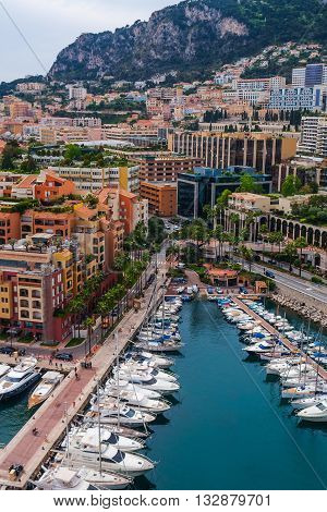 The Principality of Monaco, the state. town, located on the Cote d'Azur in France