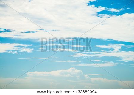 Beautiful blue sky with white cloud in summer on sunny day