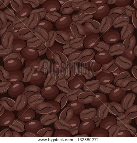 Coffee roasted beans seamless pattern. Vector illustration.