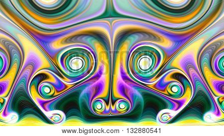 Mask Mongol Shuudan. The muzzle of dragon. Sacred geometry. Mysterious psychedelic relaxation wallpaper. Fractal abstract pattern. Digital artwork creative graphic design.