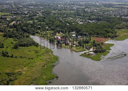 Aerial Views - Russia. A smart mansion on the river bank Volga. Shooting from the helicopter.