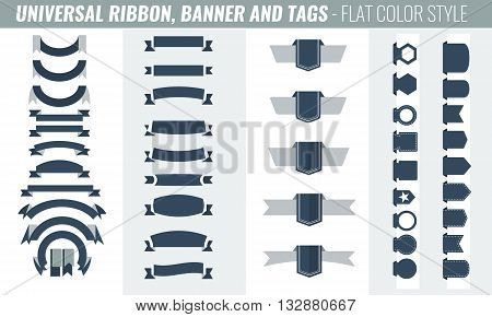 New vector set of RIBBON BANNER AND TAGS collection. Tricolor flat color style. Long and short ribbon banners. Additional price tags collection
