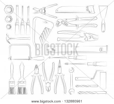 Construction tools set of hand drawn icons. Vector illustration
