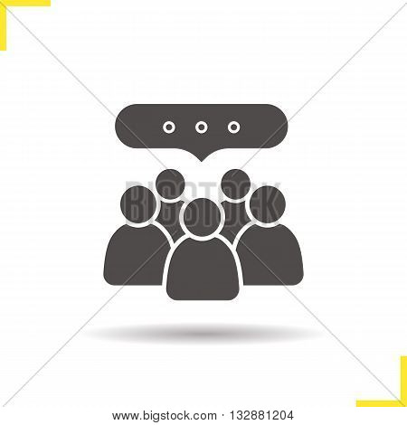 Conference icon. Drop shadow meeting silhouette symbol. Business teamwork. Company discussion. Vector isolated illustration
