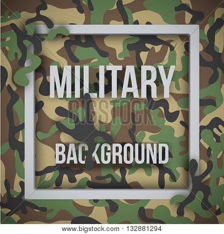 Military modern woodland camouflage background with tags. Army symbol of defense. Vector Illustration.