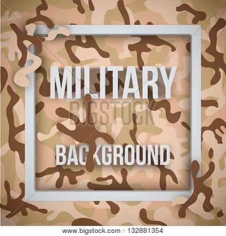 Military modern desert camouflage background with tags. Army symbol of defense. Vector Illustration.
