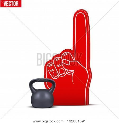 Symbol of Powerlifting and gym Sports Fan Foam Fingers and weight kettlebell. Vector Illustration Isolated on white background.