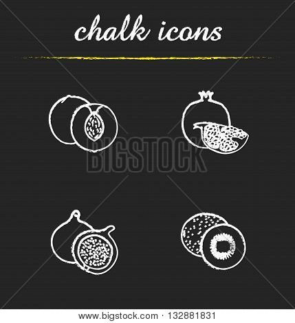 Fruit icons set. Apricot, pomegranate, fig and kiwifruit illustrations. Tropical fruit isolated vector chalkboard drawings