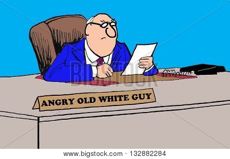 Business cartoon about an angry, old, white guy.