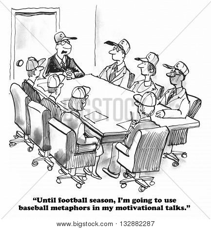 Business cartoon about sports metaphors for the team.