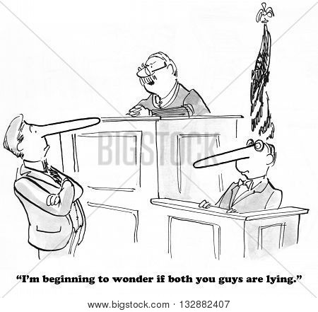 Legal cartoon about not telling the truth.
