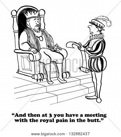 Business cartoon about a meeting with an undesirable attendee.
