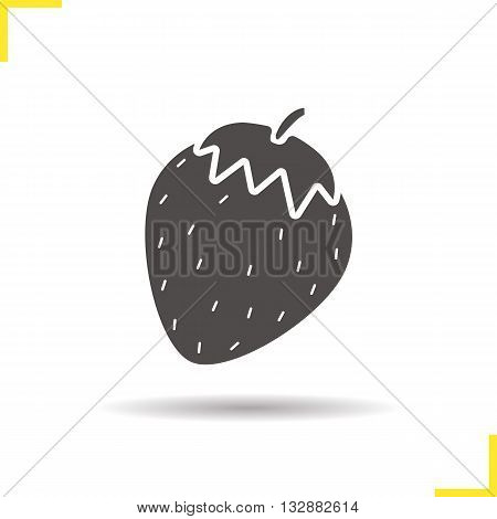 Strawberry icon. Drop shadow strawberry silhouette symbol. Seasonal agricultural berry. Strawberry fruit logo concept. Vector strawberry isolated illustration