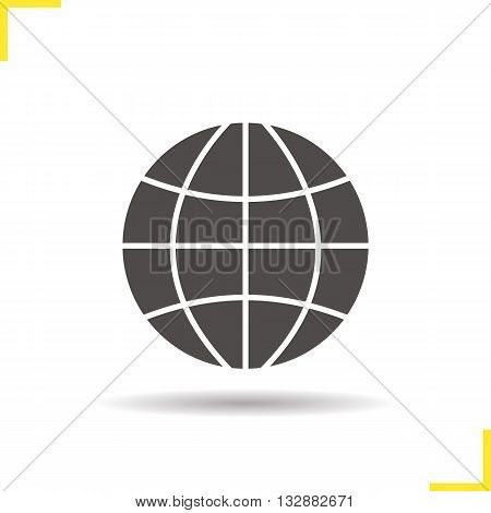 Globe icon. Drop shadow Earth silhouette symbol. Earth spherical model. World logo concept. Vector worldwide isolated illustration