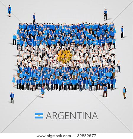 Large group of people in the shape of Argentina flag. Vector illustration
