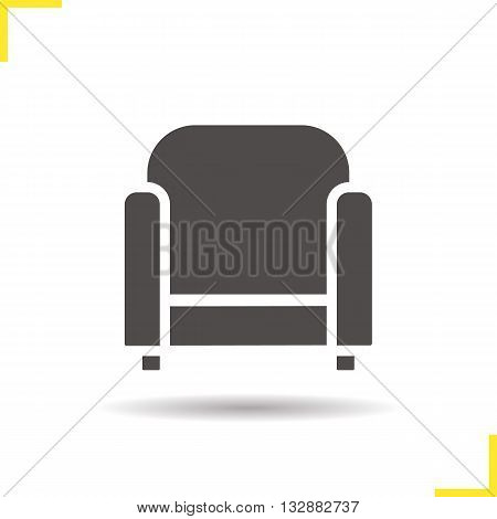 Armchair icon. Drop shadow chair silhouette symbol. Modern house furniture item. Office furniture. Armchair logo concept. Vector chair isolated illustration