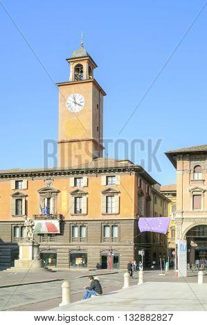 REGGIO EMILIA ITALY - October 06.2011: Ancient fountain of the river Crostolo on an area Piazza del Duomo in city Reggio Emilia