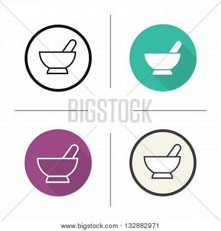 Mortar and pestle icon. Flat design, linear and color styles. Mortar and pestle isolated vector illustrations