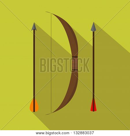 An archery retro set. Hunting season. Flat and Cartoon style. Vector illustration.