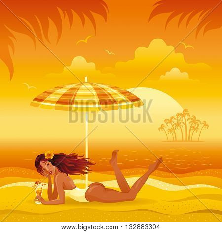 Evening beach background with beautiful tan girl and umbrella