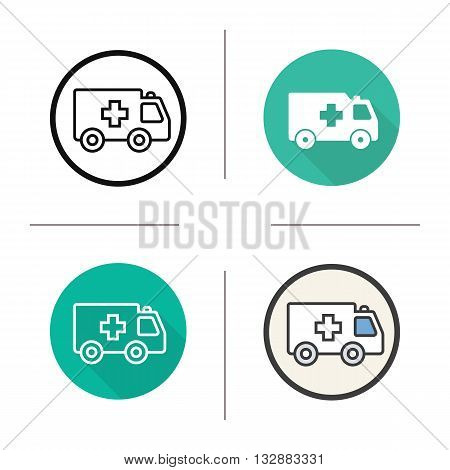 Ambulance flat design, linear and color icons set. Hospital trasnport. Emergency car. Contour and long shadow symbols. Ambulance logo concepts. Isolated vector illustrations. Infographic elements