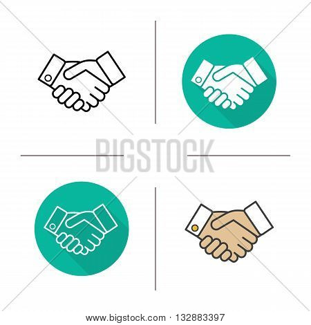 Handshake flat design, linear and color icons set. Business agreement. Partnership. Contour and long shadow symbols. Shaking hands logo concepts. Isolated vector illustrations. Infographic elements