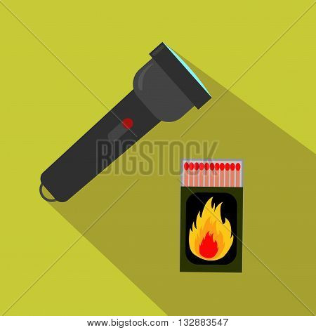 A flashlight and matches for hunting. Flat and cartoon style. Vector illustration.