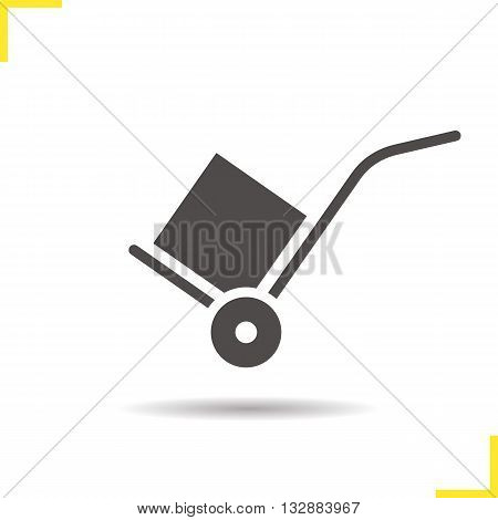 Hand truck icon. Drop shadow delivery silhouette symbol. Delivery equipment. Baggage transportation. Hand truck logo concept. Vector cart with box isolated illustration
