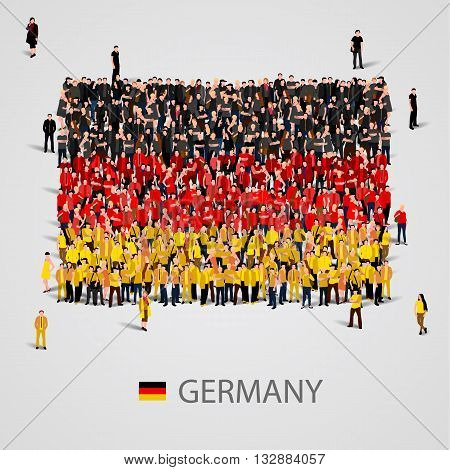 Large group of people in the shape of Germany flag. Vector illustration