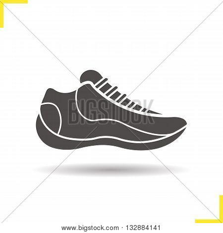 Sneaker icon. Drop shadow running shoe silhouette symbol. Sport footwear. Vector isolated illustration