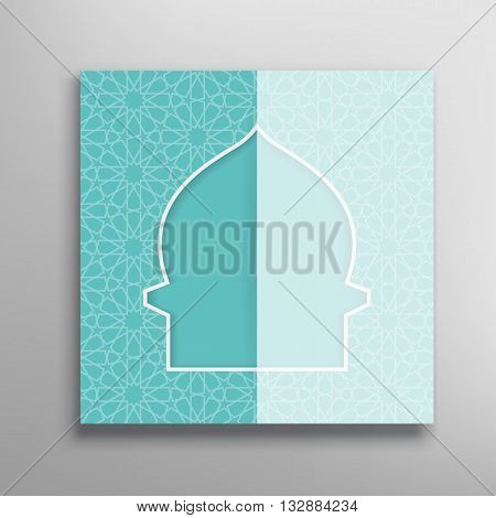 Islamic  green ramadan greeting card. Islamic Ramadan decoration. Islamic mosque vector illustration. Ramadan template