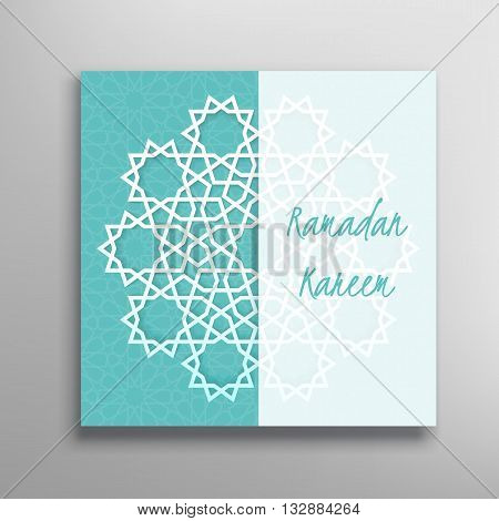 Islamic green ramadan greeting card. Islamic Ramadan decoration. Islamic star vector illustration. Ramadan template