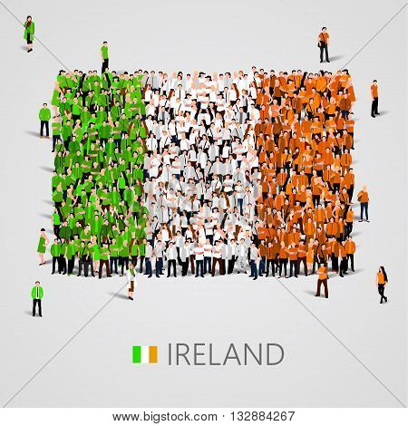 Large group of people in the shape of Ireland flag. Vector illustration
