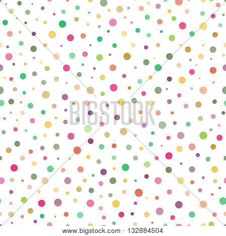 Seamless pattern with colorful circles of varying transparency and of varying sizes on white background