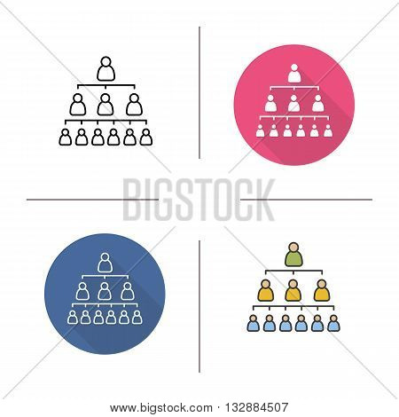 Company hierarchy flat design, linear and color icons set. Group structure. Leadership. Contour and long shadow symbols. Hierarchy logo concepts. Isolated vector illustrations. Infographic elements