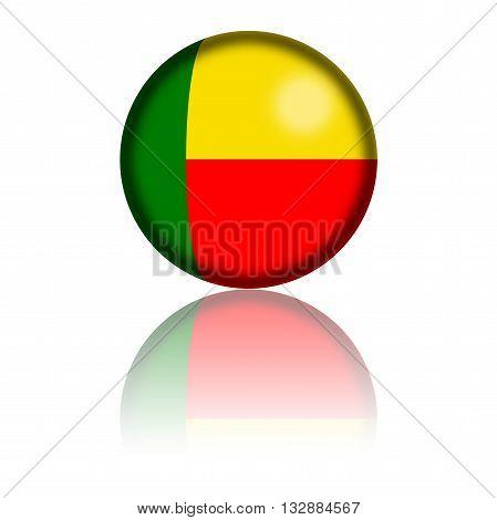 Benin Flag Sphere 3D Rendering