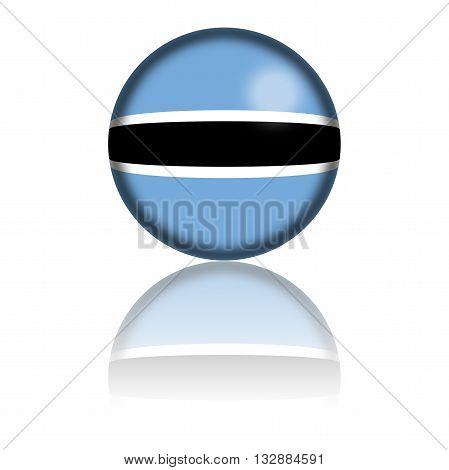 Botswana Flag Sphere 3D Rendering