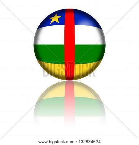 Central African Republic Flag Sphere 3D Rendering