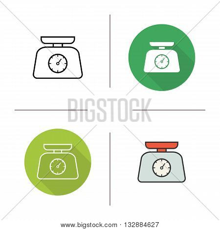 Kitchen scales icon. Flat design, linear and color styles. Weight measurement. Food scale isolated vector illustrations