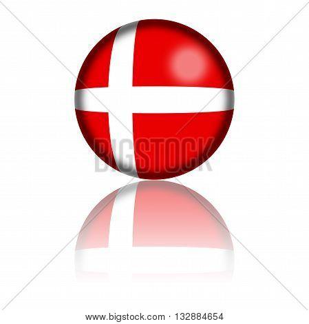 Denmark Flag Sphere 3D Rendering