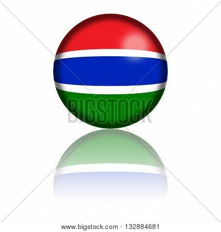 Gambia Flag Sphere 3D Rendering