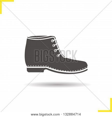 Boot icon. Drop shadow shoe silhouette symbol. Male and female winter shoe. Winter fashion footwear. Boot logo concept. Vector shoe isolated illustration