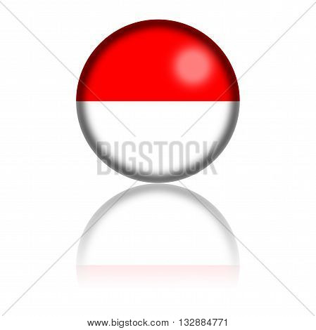 Monaco Flag Sphere 3D Rendering