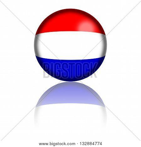 Netherlands Flag Sphere 3D Rendering