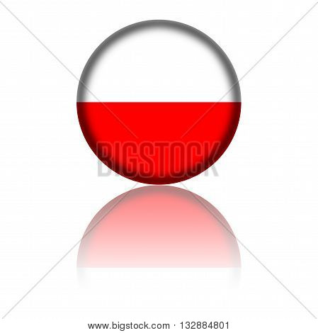 Poland Flag Sphere 3D Rendering