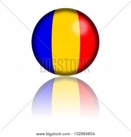 Romania Flag Sphere 3D Rendering