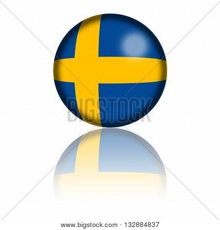 Sweden Flag Sphere 3D Rendering