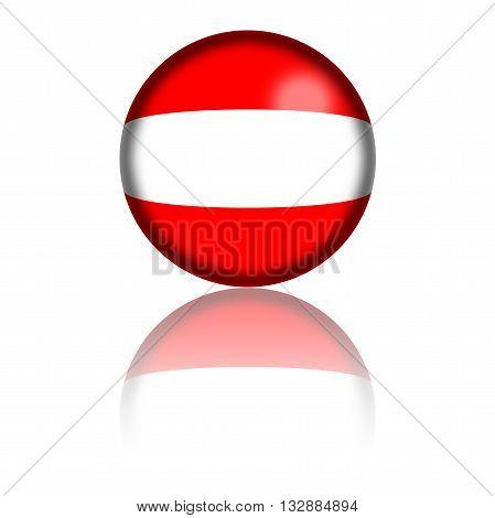 Austria Flag Sphere 3D Rendering