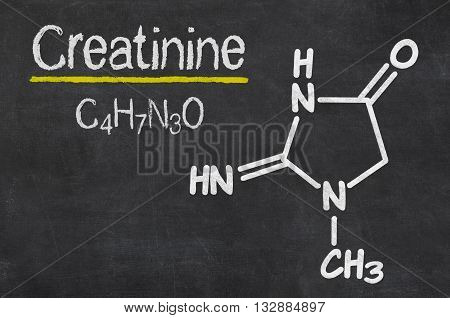 Blackboard With The Chemical Formula Of Creatinine